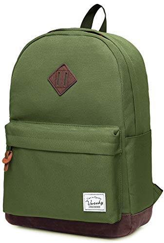 Vaschy Unisex Classic Lightweight Water-resistant Campus School Rucksack Travel BackPack Green Fits 14-Inch Laptop