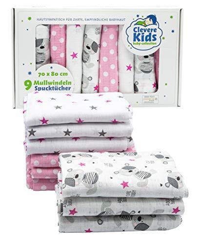 Clevere Kids - Confezione da 9 panni in garza per bambini, stampati, OEKO-TEX, doppio tessuto, 70 x 80 cm, colore: Rosa