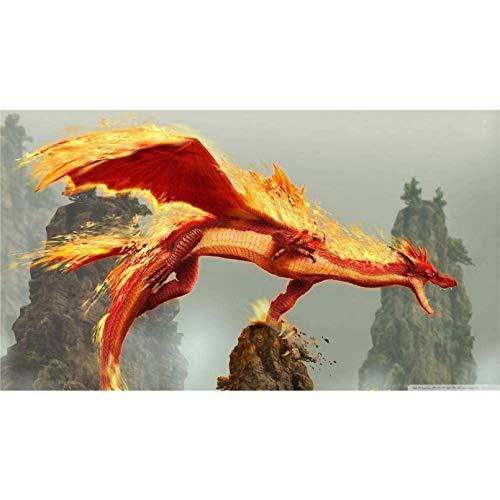 Kit per pittura a diamante 5D per adulti, pittura a diamante completa per trapano su tela, perfetto per la decorazione della parete di casa, regalo di festa - , Dragon Blade Wrath Of Fire (40 × 50CM
