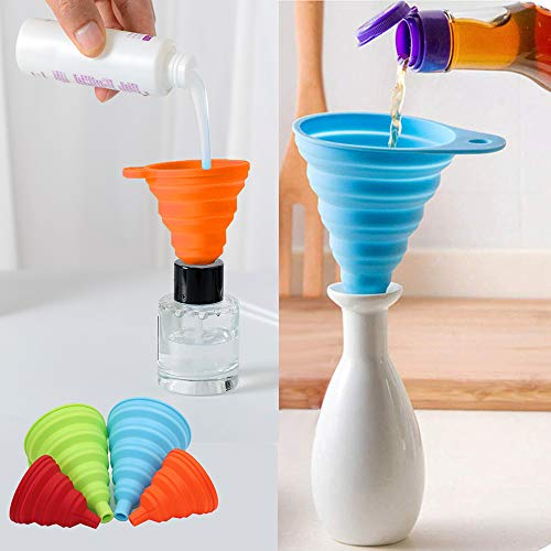 Silicone Collapsible Funnel Set of 4 Small and Large, Kitchen Funnels for Filling Water Bottle Oil Liquid Power Transfer, Foldable Cooking Gadgets tools Food Grade
