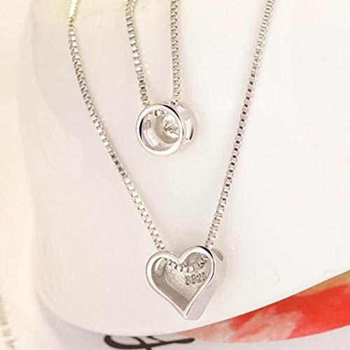 DUBIXIXINew dubbele laag ketting zirkoon hart hangers kettingen voor vrouwen Trend trui ketting Choker 925 sterling zilveren sieraden