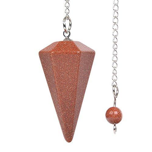 Synthetischer Goldstein Edelstein Bergkristall sechseckig spitz Reiki Chakra Anhänger Pendel