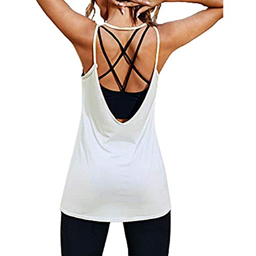 Workout Tops for Women Yoga Gym Tank Tops Sleeveless U Neck Vest Solid Color Sport Running Camisole White