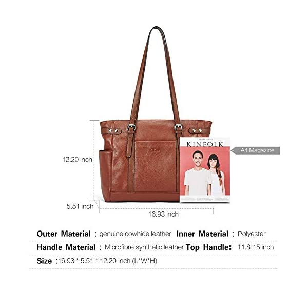 Laptop Totes for Women Genuine Leather Briefcase Large Ladies Shoulder Bag Work Handbags 15.6 Inch Computer Oil Wax Leather Wallets for Women Large Clutch Ladies Long Card Holders Organizer Brown 2