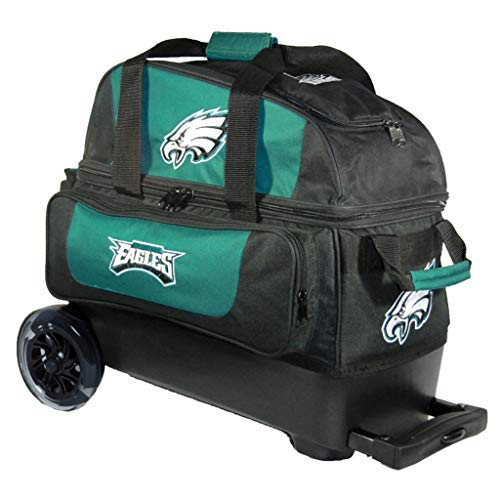 KR Strikeforce Strikeforce Bowling Bags Philadelphia Eagles 2 Ball Roller Bowling Bag, Multi