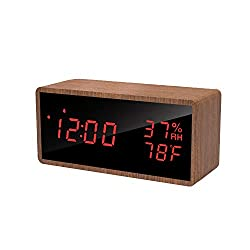 meross Wood Digital Alarm Clock for Bedrooms, Real Wood, Time Temperature Humidity, 3 Sets of Alarms, Adjustable Brightness