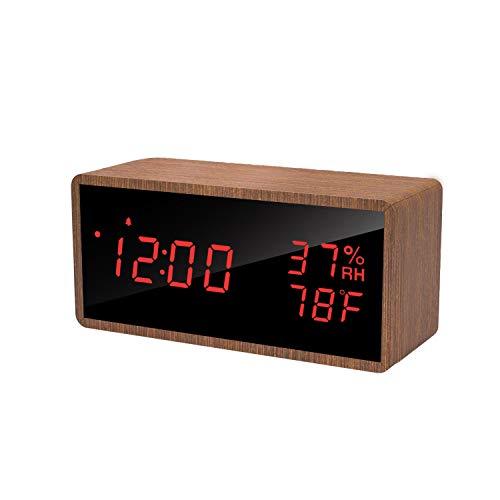 meross Sveglia Digitale LED Orologio Allarme da Tavolo Comodino, Controllo Acustico, Data, Temperatura e umidità, Alimentazione USB, per casa, Camera da Letto e Ufficio …