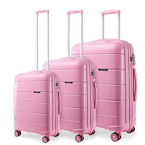 Kono Kono Hartschalen 3er Kofferset Trolley Reisekoffer Leichter Polypropylen Koffer mit TSA-Schloss und 4 Doppelrollen 55cm 65cm 74cm (Pink,Set)