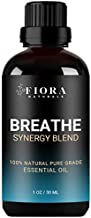 Breathe Essential Oil Blend by Fiora Naturals- Synergy Blend of Peppermint, Eucalyptus, Tea Tree, Lemon & Cardamon to Boost Vitality & Help Relief Congestion - 30ml