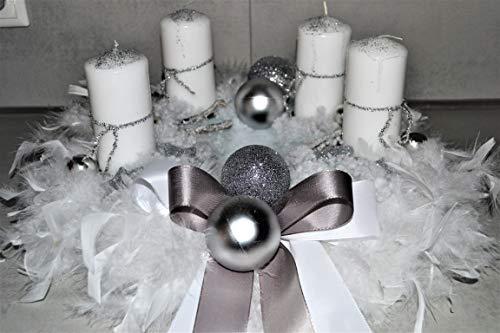 Adventskranz weiß Silber 40 cm künstlich Weihnachten Adventsgesteck Deko Federn
