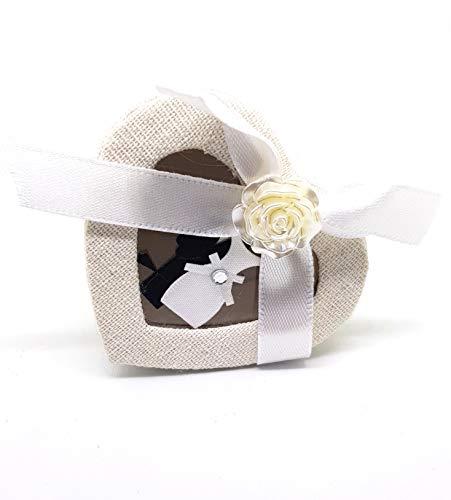 takestop® Bonbonnière hartdoos voor bruiloft, 5,5 x 7 cm, 12 stuks doosjes stof met roze strik, snoepjes, gastgeschenk, confetti, party bruiloft PROMESSA bruiloft