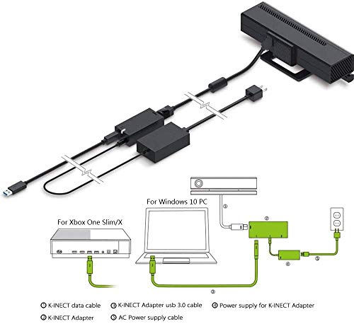 Adaptador Kinect para Xbox One S Xbox One X y conectar a PC Sensor Kinect 2.0 de Windows 8 / Windows 8.1 / Windows 10 Sistema de fuente de alimentación del adaptador (nueva versión 2020)