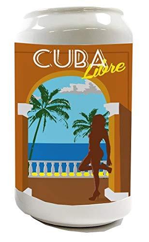 Spardose Sparbüchse Geld-Dose Wiederverschließbar Farbe Weiß Urlaub Reisebüro Cuba Libre Keramik Bedruckt