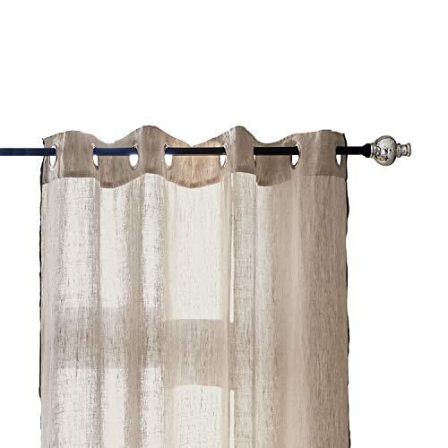 Loberon Gardinenstange Petiville, Eisen, Glas, B/Ø ca. 122/7 cm, schwarz/Silber