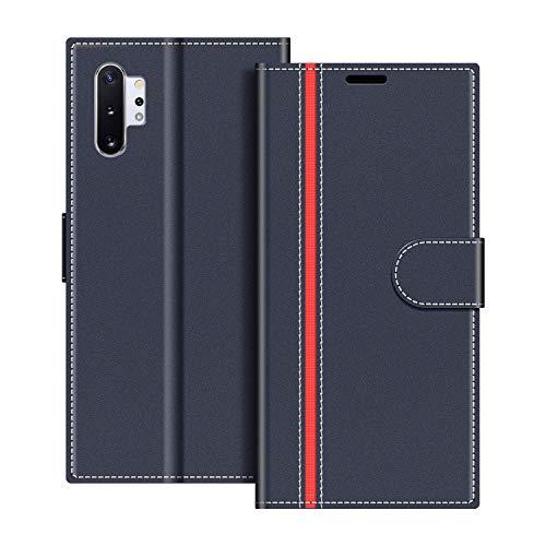 COODIO Handyhülle für Samsung Galaxy Note 10+ Handy Hülle, Samsung Galaxy Note 10 Plus Hülle Leder Handytasche für Samsung Galaxy Note 10 Plus Klapphülle Tasche, Dunkel Blau/Rot
