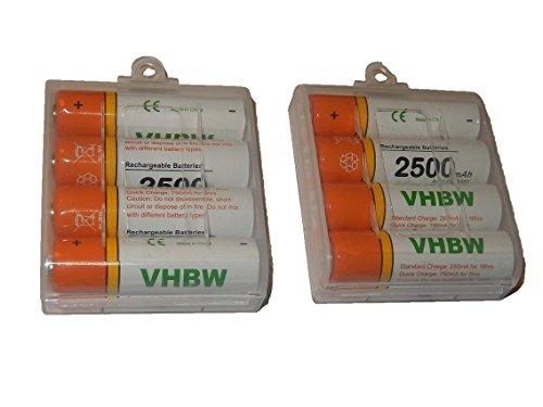 vhbw 8 x AA, Mignon, HR6, LR6 Akku 2500mAh passend für Fujifilm FinePix S2500 HD, S2600 HD, S2700 HD, S2800 HD, S2950, S2960, S2970, S2980, S2990