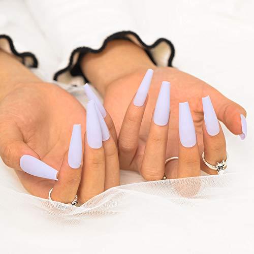 Sethexy Matt Ballerina Falscher Nagel Lange Sarg Falsche Fingernägel 24St Acryl Drücken Sie auf Kunstnagelspitzen für Frauen und Mädchen (Helles Lila)