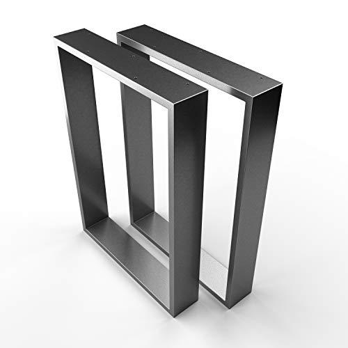 SOSSAI DESIGN Gambe per tavolo in acciaio | Set di 2 | struttura tavolo | larghezza 60 cm x altezza 72 cm | TKK3 | Profilo 20x100mm | colore: antracite