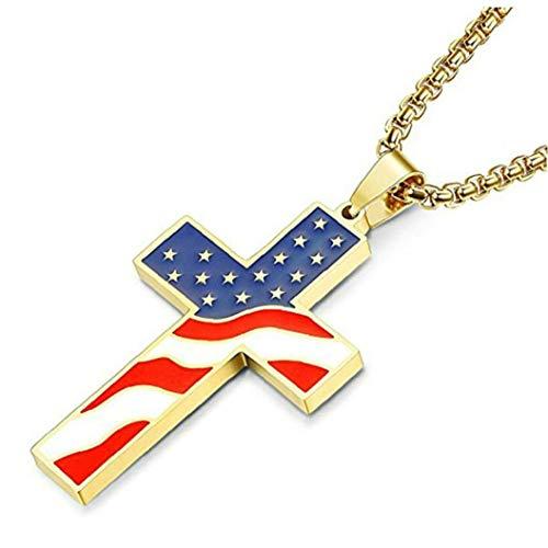 DINEGG EE.UU. Flag Cross Colgante Collar de Acero Inoxidable Cadena Larga Gargantilla Joyería QQQNE (Color : Style 1)