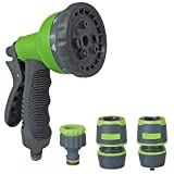 parpyon® - Pistola de pulverización de Agua para jardín, pulverizador de presión Ajustable, Lanza para Manguera de Agua, Set de jardinería, caña de Agua, jardín, riego + empalmes de Regalo (DOC1)