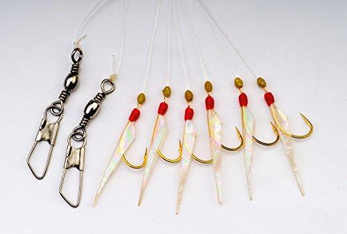 Behr Heringssystem mit echter Fischhaut und Fluo Perlen 6 Haken Gr. 4