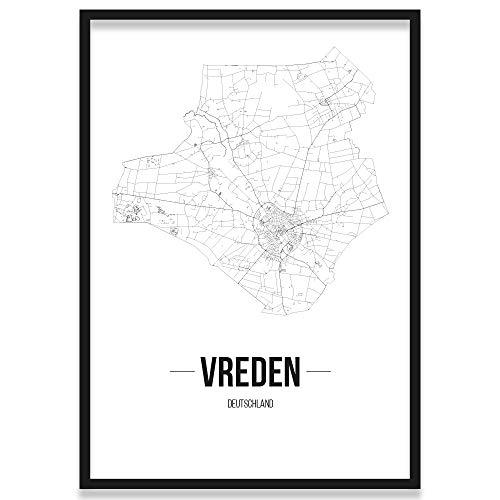 JUNIWORDS Stadtposter, Vreden, Wähle eine Größe, 30 x 40 cm, Poster mit Rahmen, Schrift B, Weiß