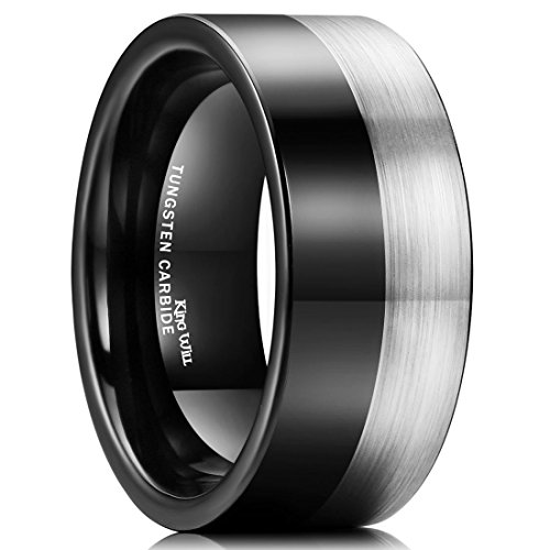 King Will Men 10mm Tungsten Carbide Ring Black Silver Wedding Band Brushed Comfort Fit(11)