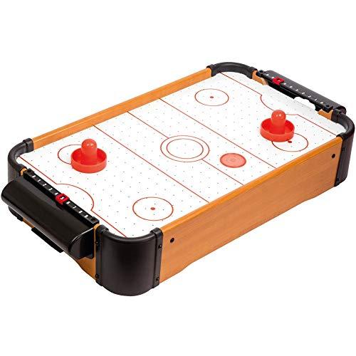 Mister Gadget MG3260 Tischset Air Hockey 2 Schieber, 2 Pucks und 2 Zähler, Holz, Kunststoff, braun schwarz weiß und rot H10 x 30,5 x 56 cm