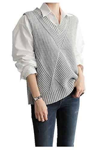 CYSTYLE Damen Weste Strick Pullunder V-Ausschnitt Strickweste Vest mit Strick Feinstrick für Business und Freizeit (Grau, M)