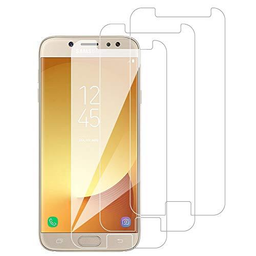 [3 Pack] Amonke Protector Pantalla para Samsung Galaxy J7 2017 Cristal Templado, Plana pero Incompleta Cobertura, 9H Dureza, Anti-Huella, HD Film, Screen Protector para Samsung Galaxy J7 2017
