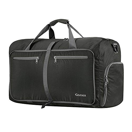 Gonex 60L Foldable Travel Duffle Bag for Luggage, Gym, Sport, Camping, Storage, Shopping Water & Tear Resistant Gray