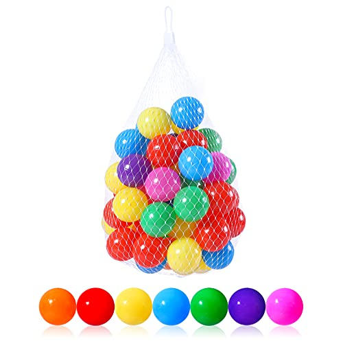 PlayMaty Colorful Ball Pool Pit Balls - Phthalate Free BPA Free Plastic Ocean Balls for Kids Swim Pit Fun Toys 50 Pieces for Toddlers and Baby Playhouse Play Tent Playpen Pool