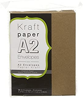"""Darice A2 Natural Kraft Paper Envelopes (50pk) – Perfect for Invitations, Greeting Cards and More – Embellish Natural Envelopes with Calligraphy Pens, Markers or Run Through Printer, 4.375""""x5.75"""""""