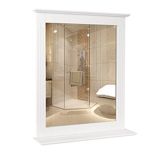 Homfa Specchio da Bagno Specchio Parete con mensola Specchio Arredobagno con Cornice & 1 Ripiani (50 x 60 cm Bianco)