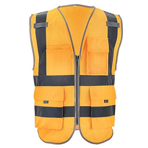 Vest Reflecterende Veiligheid Hi Vis Vest Werkkleding Veiligheid Gilet Reflecterende Securite Veiligheid Vest Reflector Mouwloos Jas XXL-Chest130cm goud
