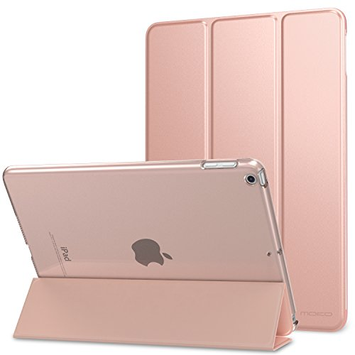 MoKo Case Fit 2018/2017 iPad 9.7 5th / 6th Generation, Slim Lightweight Smart Shell Stand Cover with Translucent Frosted Back Protector Fit iPad 9.7 Inch 2018/2017, Rose GOLD(Auto Wake/Sleep)