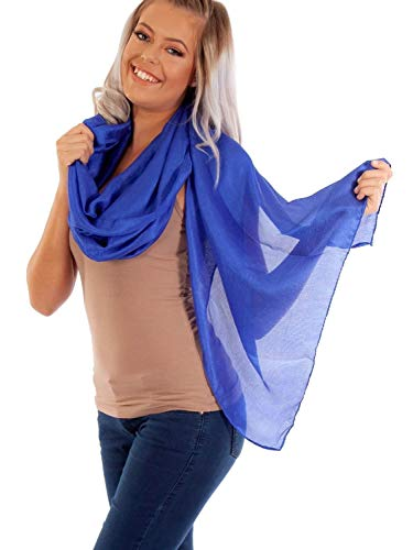 DOLCE ABBRACCIO by RiemTEX ® Schal Damen PRIMA DONNA Stola Tuch aus Wildseide in edlem Blau Tücher in 31 Unifarben Halstücher Seidentuch Schals Damen Halstuch Seidenschal (Königsblau)