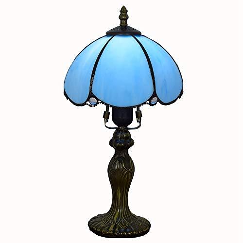 JAQ Retro Land Tiffany-Tischleuchte Hand Geschnitzte Glasmalerei Nachttischlampe barocke Weinlese-Schreibtisch-Licht für Schlafzimmer Arbeitszimmer Raum Innen Deko Licht