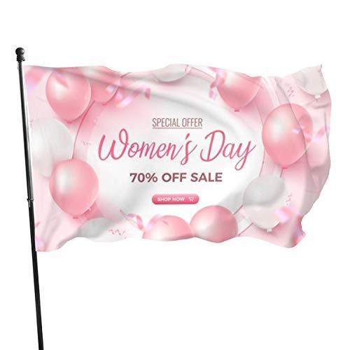 Generic Brands Banner für Damen, mit weißem Rahmen, rosafarbene und weiße Luftballons, Konfetti auf rosafarbenem Damentag Schablone Flagge Banner Flaggen 91 x 152 cm