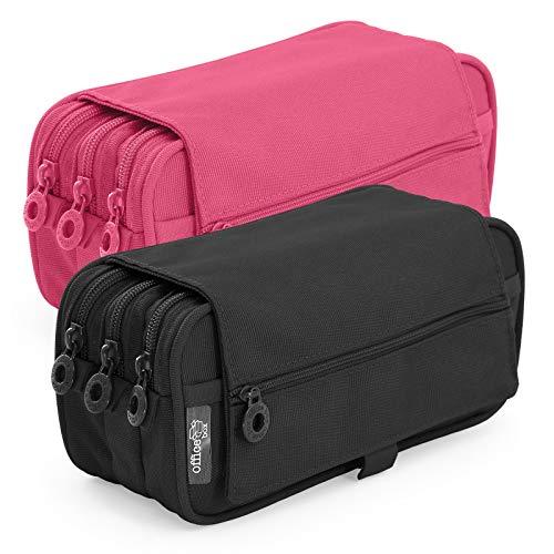 Pack 2 Portatodo Triples de Amplios Apartados Interiores con Cierre de Cremallera Individual, Estuche Multiuso para Material Escolar. Colores Negro y Fucsia