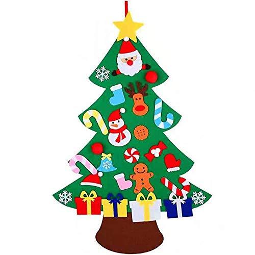 XONOR DIY Filz Weihnachtsbaum Set mit Ornamente für Kinder, Neujahr Tür Wandbehang Dekorationen (Stil 2)