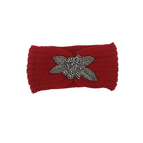 Minkissy diadema de turbante de ganchillo hilado de lana banda para el cabello de punto banda para el cabello protector elástico de oreja de invierno elástico con flor para niñas mujeres (rojo