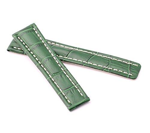 BOB Herren Faltschließband Alligator Style kompatibel Breitling 20 mm grün