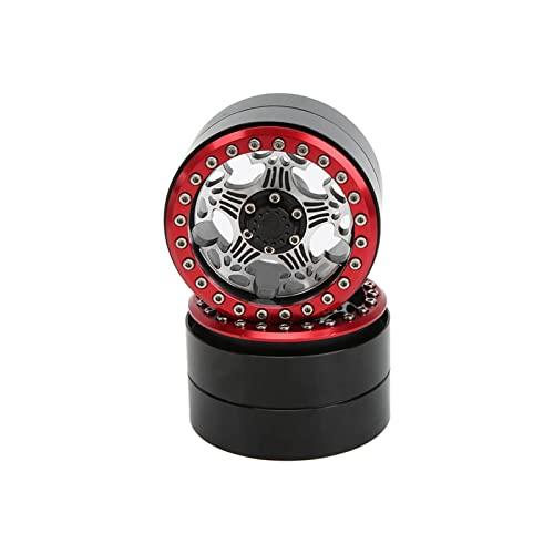 RC Beadlock Wheel Rims Hubs, RC Beadlock Wheel Rims 2 Pcs Beadlock Wheel Hub for Axial SCX10(red)