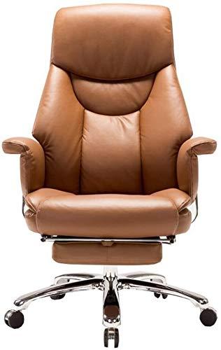 WYL Swivel Computer Stuhl Sessel PU Kunstleder Reclining Computer Stuhl Sofa Armlehne Design Mit Fußraste Bearing Gewicht 150kg (Color : Brown)