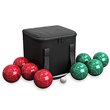 Bocce Ball Set- Outdoor Family Bocce Game for Backyard, Lawn, Beach and More- Red and Green Balls, Pallino, and Equipment Carrying Case