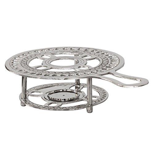 aubaho Stövchen Messing Teewärmer Kaffeewärmer Wärmer Silber Antik-Stil - 24cm