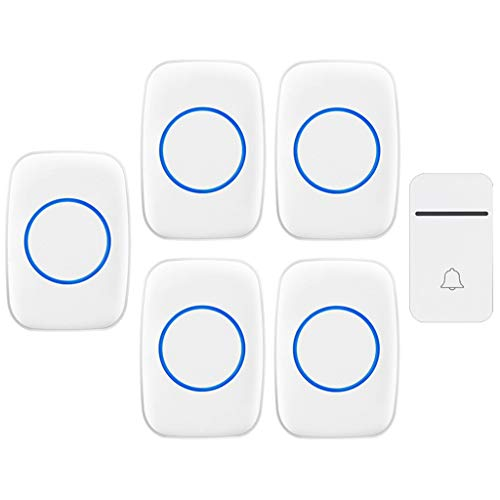 GOODLUKE Self-Powered Wireless Doorbell, 1 Doorbell Button 5 Plug in Receivers, Doorbell with 200M Range, 38 Chimes, 3 Adjustable Volume Levels, Best for Home/Hospital/Office,White