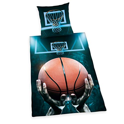 Herding Young Collection Basketball Set di Set Copripiumino singolo e federa, Cotone, multicolore, 135 x 200 x cm