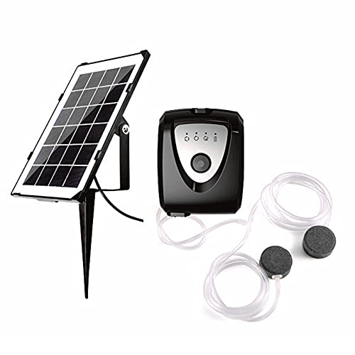 Sunydog 6V 3,5W Solar Luftpumpe Aquarium Oxygenator mit Zwei Aquarium Rohr & Luftblasenstein Outdoor Teich Sauerstoffpumpe Belüfter Wiederaufladbar zum Angeln Fischtransport Kleine Teiche Pools